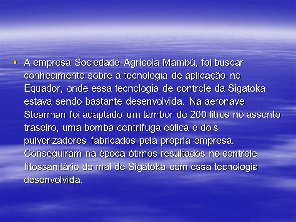 A empresa Sociedade Agrícola Mambú, foi buscar conhecimento sobre a tecnologia de aplicação no Equador, onde essa tecnologia de controle da Sigatoka estava sendo bastante desenvolvida.
