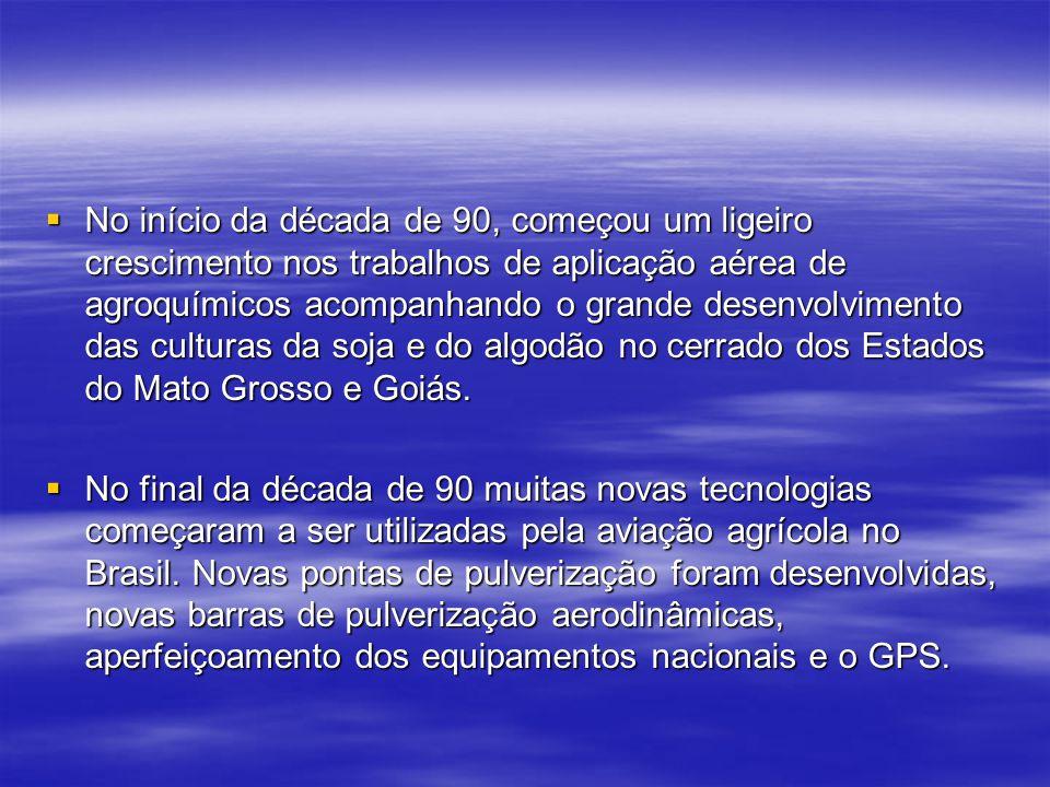 No início da década de 90, começou um ligeiro crescimento nos trabalhos de aplicação aérea de agroquímicos acompanhando o grande desenvolvimento das culturas da soja e do algodão no cerrado dos Estados do Mato Grosso e Goiás.