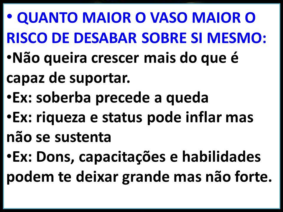 O BARRO NÃO É CAPAZ DE SUSTENTAR SEU PRÓPRIO PESO: