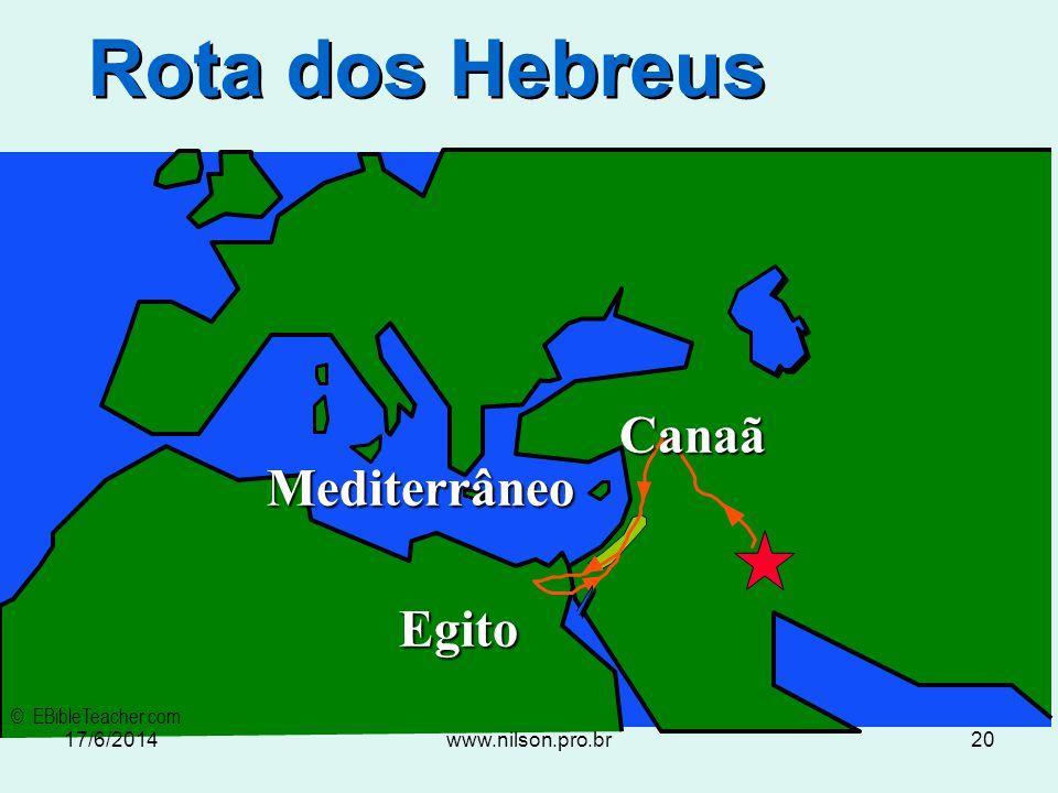 Rota dos Hebreus Canaã Mediterrâneo Egito © EBibleTeacher.com