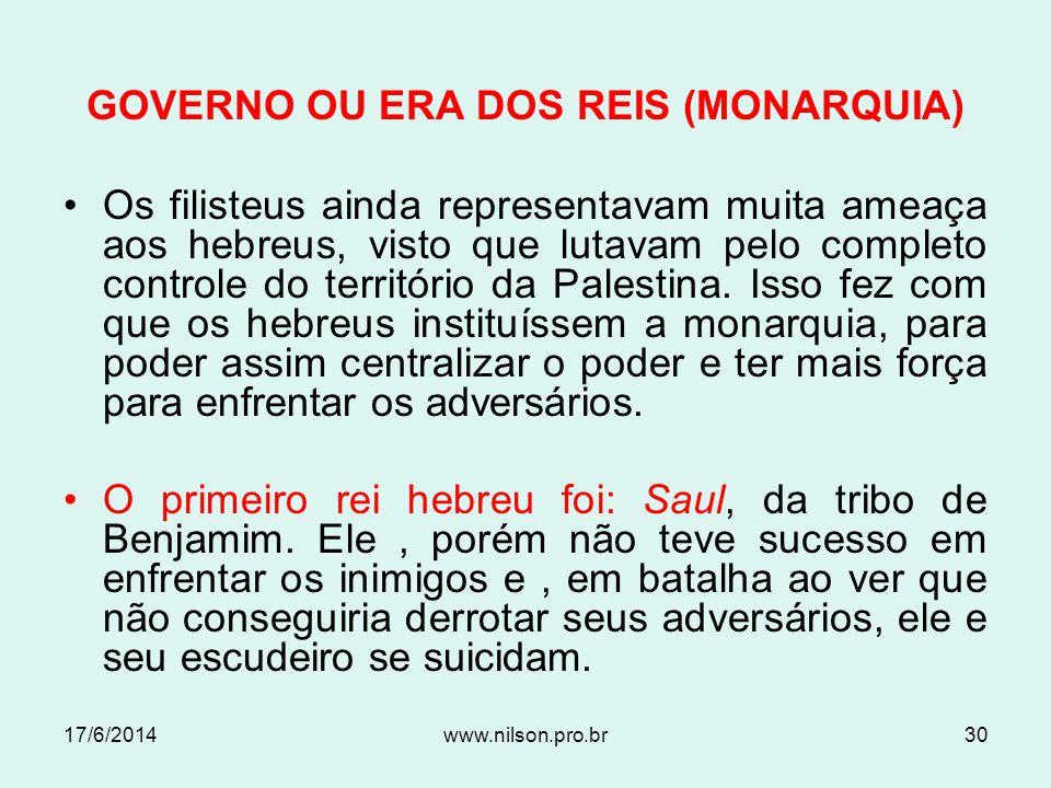 GOVERNO OU ERA DOS REIS (MONARQUIA)