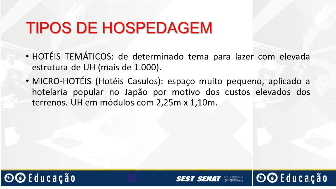 TIPOS DE HOSPEDAGEM HOTÉIS TEMÁTICOS: de determinado tema para lazer com elevada estrutura de UH (mais de 1.000).