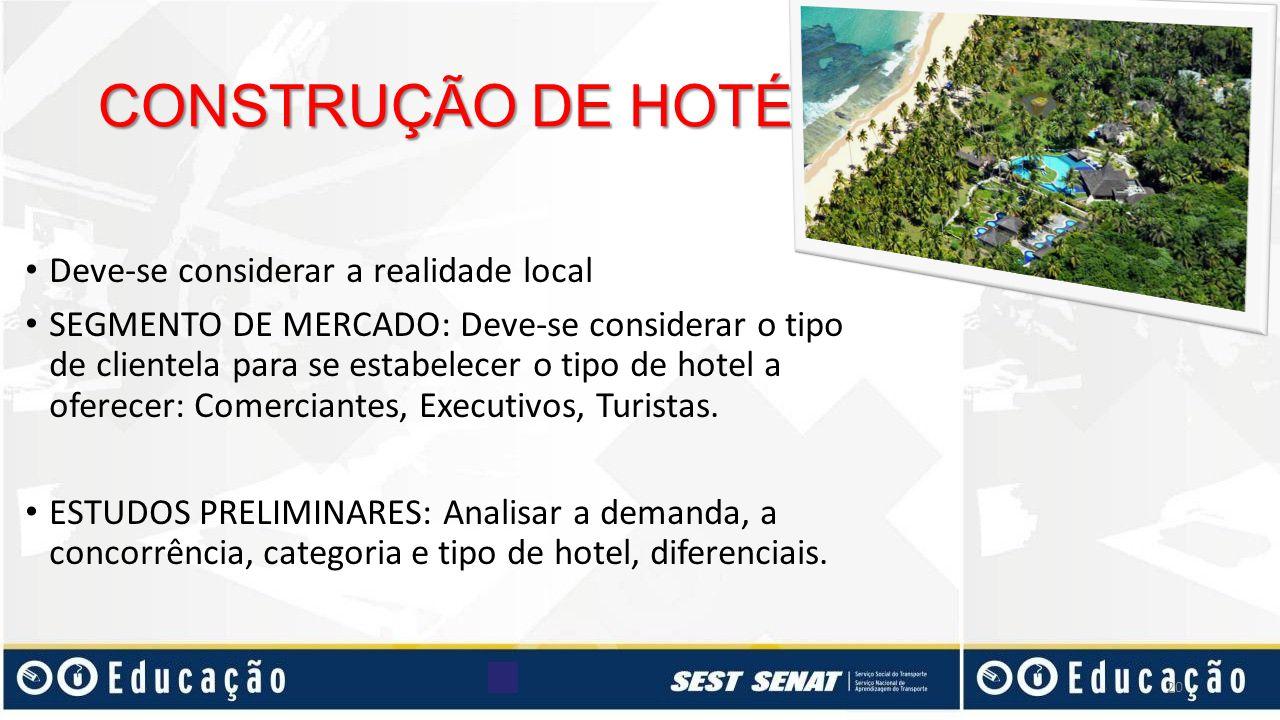 CONSTRUÇÃO DE HOTÉIS Deve-se considerar a realidade local
