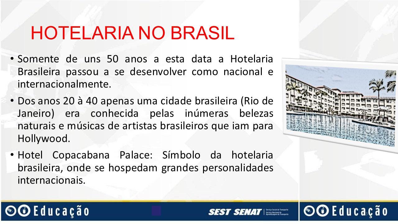 HOTELARIA NO BRASIL Somente de uns 50 anos a esta data a Hotelaria Brasileira passou a se desenvolver como nacional e internacionalmente.
