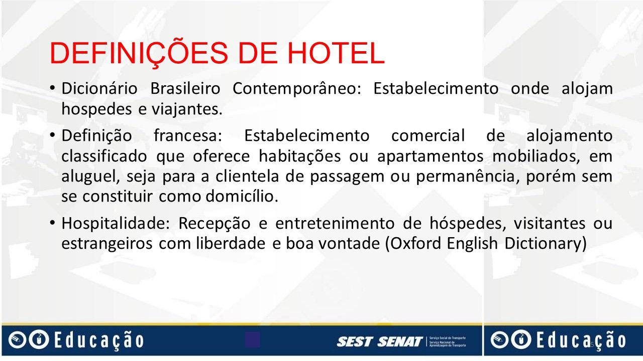 DEFINIÇÕES DE HOTEL Dicionário Brasileiro Contemporâneo: Estabelecimento onde alojam hospedes e viajantes.