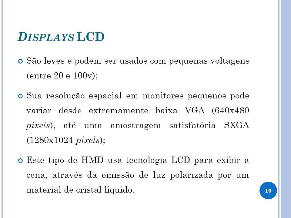 Displays LCD São leves e podem ser usados com pequenas voltagens (entre 20 e 100v);