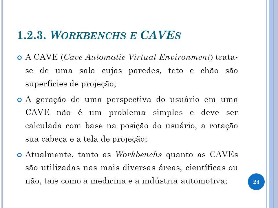 1.2.3. Workbenchs e CAVEs A CAVE (Cave Automatic Virtual Environment) trata- se de uma sala cujas paredes, teto e chão são superfícies de projeção;