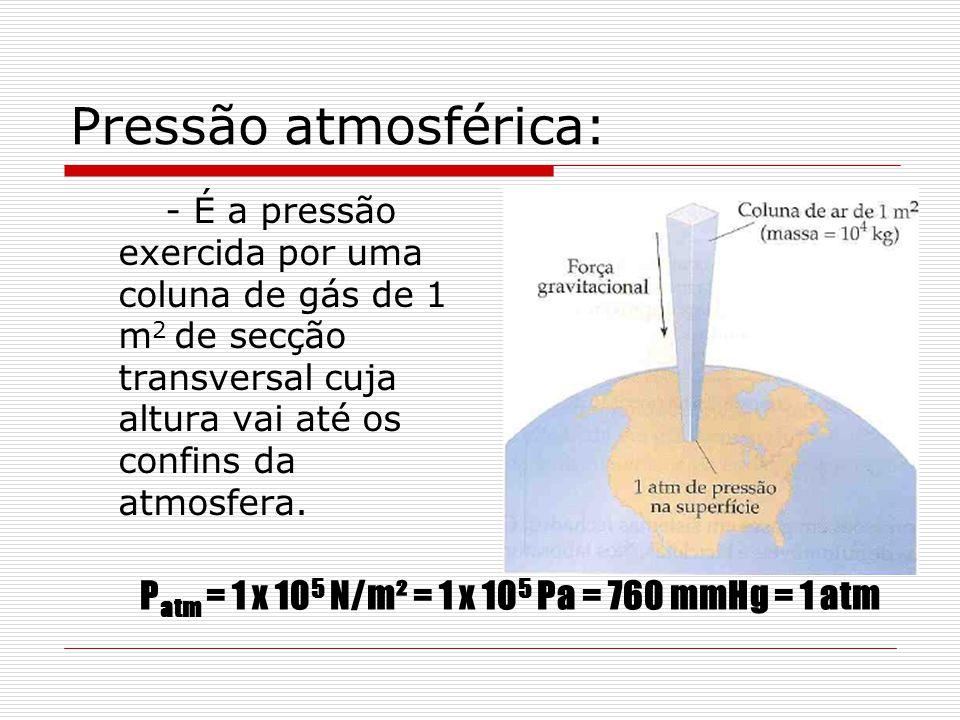 Patm = 1 x 105 N/m² = 1 x 105 Pa = 760 mmHg = 1 atm