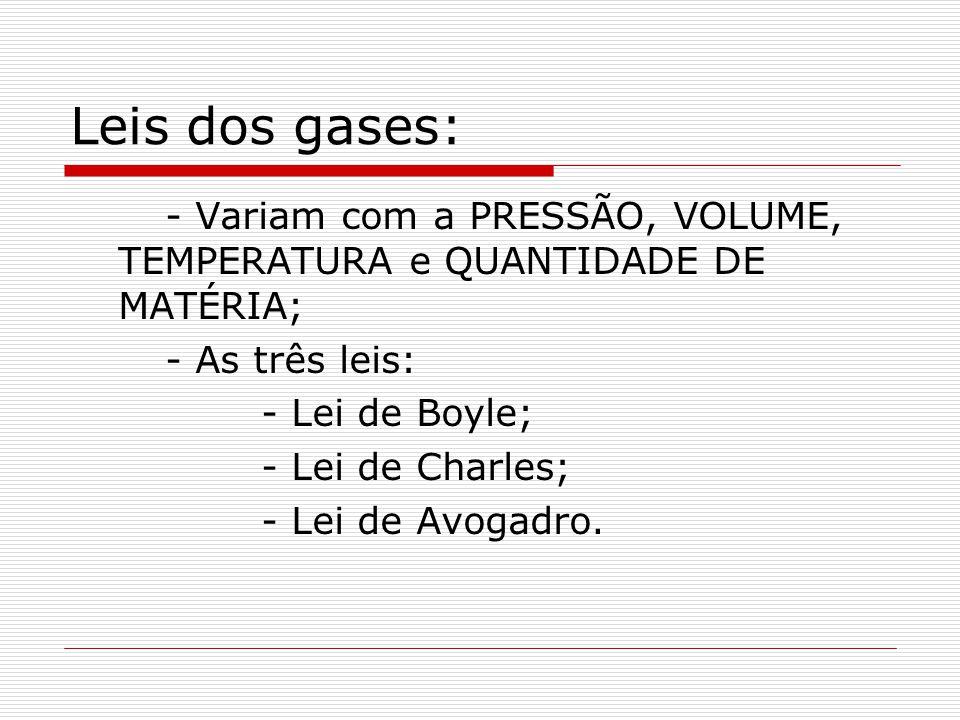 Leis dos gases: - Variam com a PRESSÃO, VOLUME, TEMPERATURA e QUANTIDADE DE MATÉRIA; - As três leis: