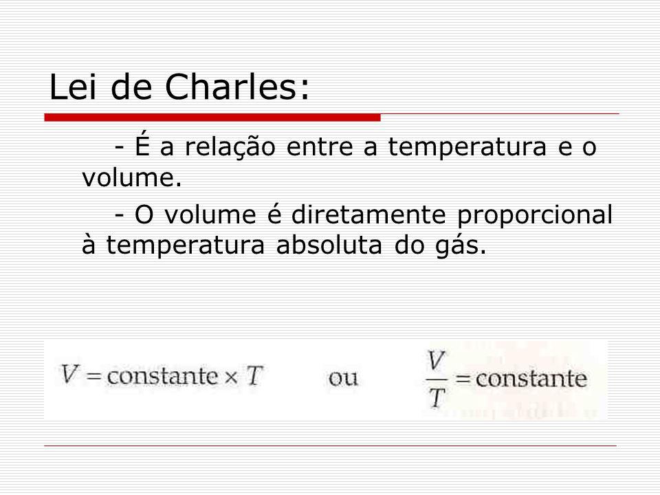 Lei de Charles: - É a relação entre a temperatura e o volume.