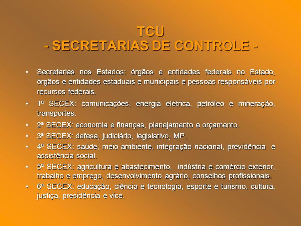 TCU - SECRETARIAS DE CONTROLE -