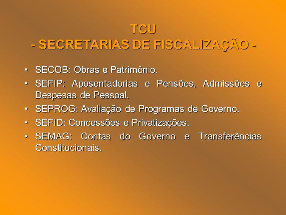 - SECRETARIAS DE FISCALIZAÇÃO -