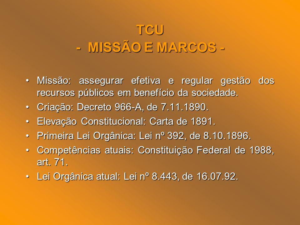 TCU - MISSÃO E MARCOS - Missão: assegurar efetiva e regular gestão dos recursos públicos em benefício da sociedade.