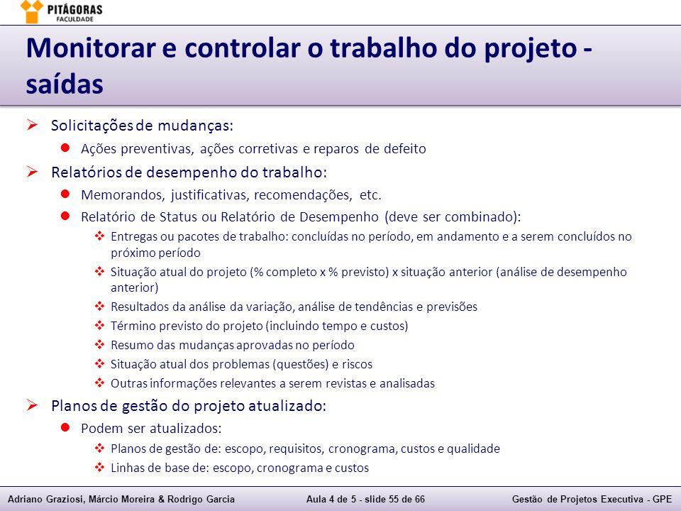 Monitorar e controlar o trabalho do projeto - saídas