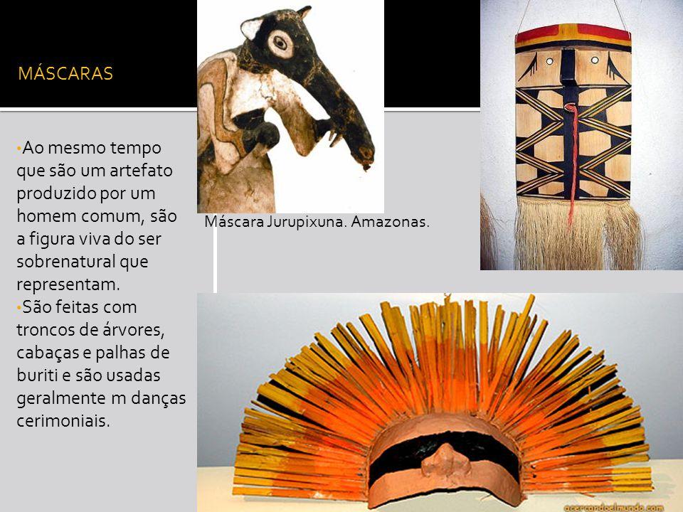 MÁSCARAS Ao mesmo tempo que são um artefato produzido por um homem comum, são a figura viva do ser sobrenatural que representam.