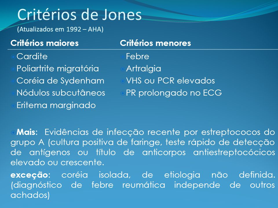 Critérios de Jones (Atualizados em 1992 – AHA)