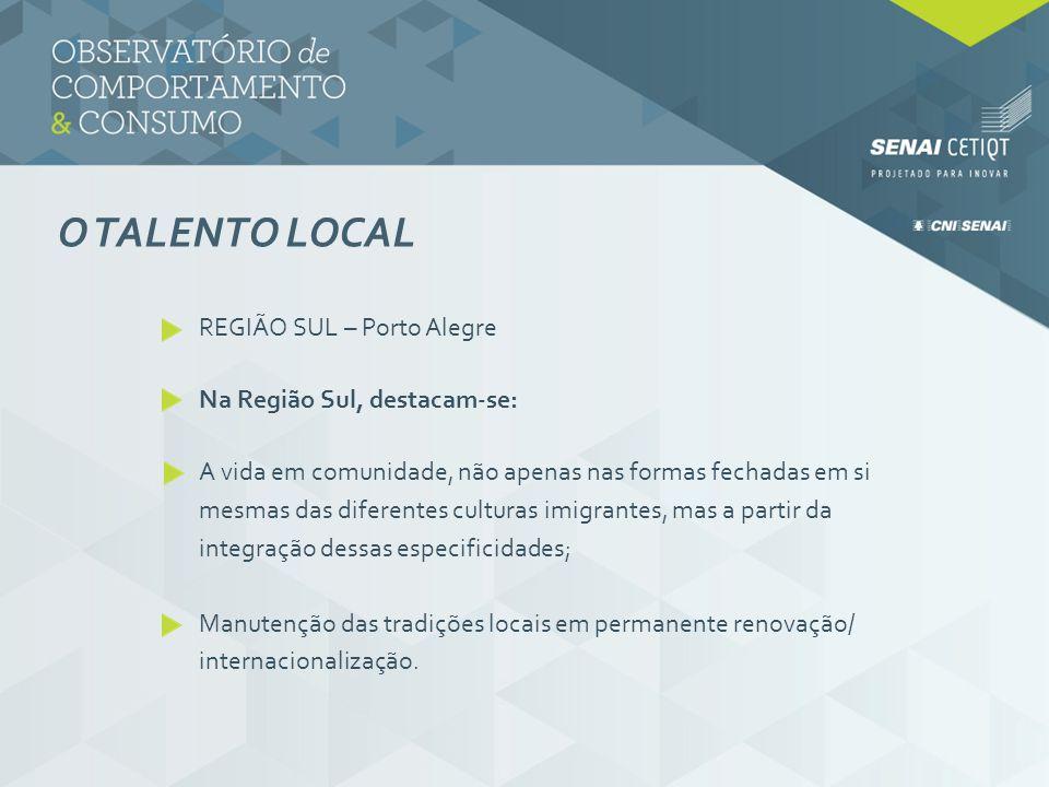 O TALENTO LOCAL REGIÃO SUL – Porto Alegre Na Região Sul, destacam-se: