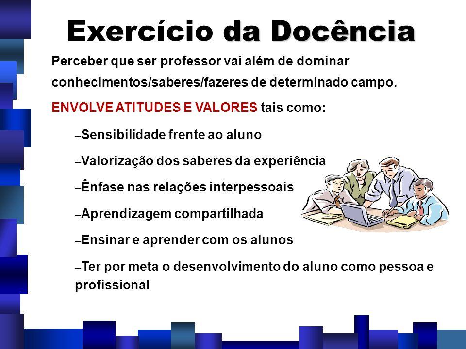 Exercício da Docência Perceber que ser professor vai além de dominar conhecimentos/saberes/fazeres de determinado campo.