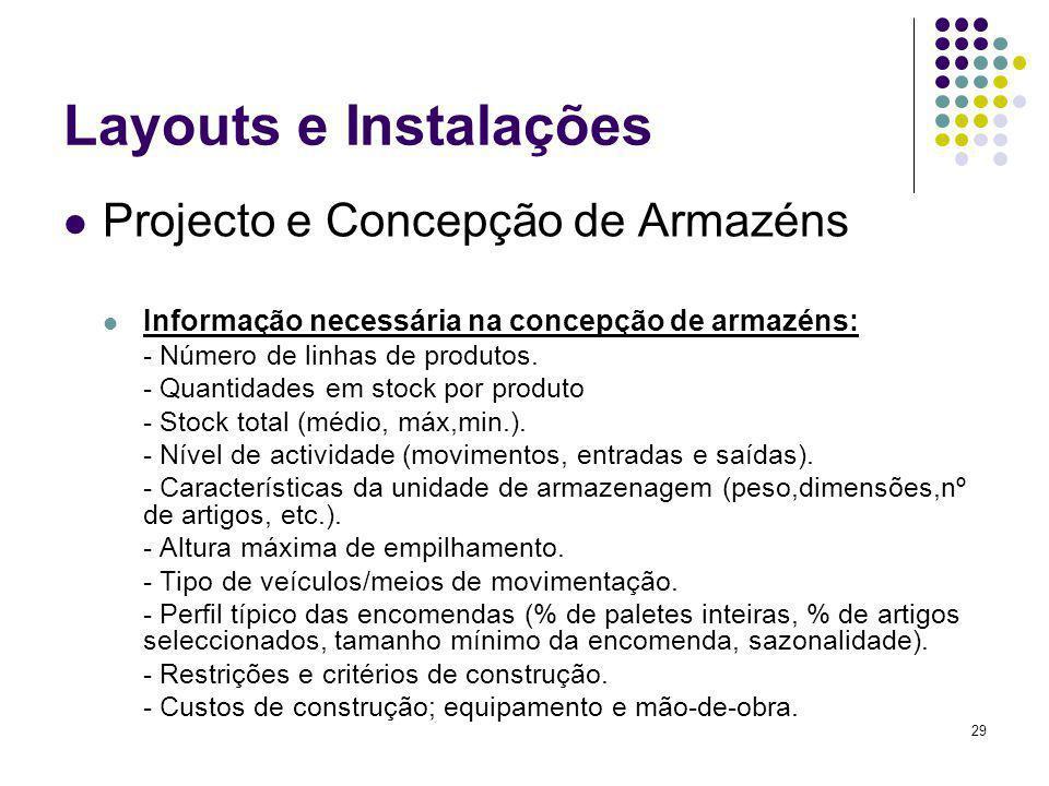 Layouts e Instalações Projecto e Concepção de Armazéns