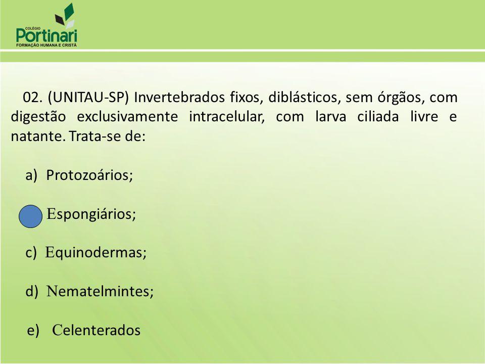 a) Protozoários; b) Espongiários; c) Equinodermas; d) Nematelmintes;