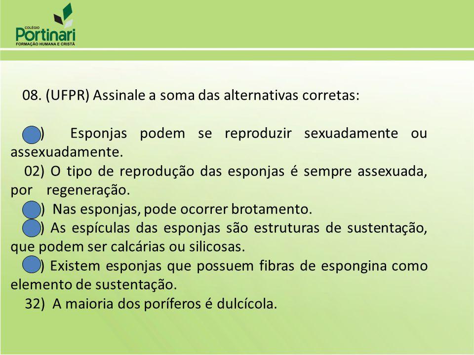01) Esponjas podem se reproduzir sexuadamente ou assexuadamente.