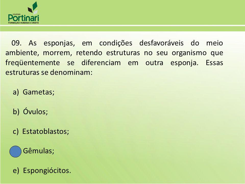 a) Gametas; b) Óvulos; c) Estatoblastos; d) Gêmulas; e) Espongiócitos.