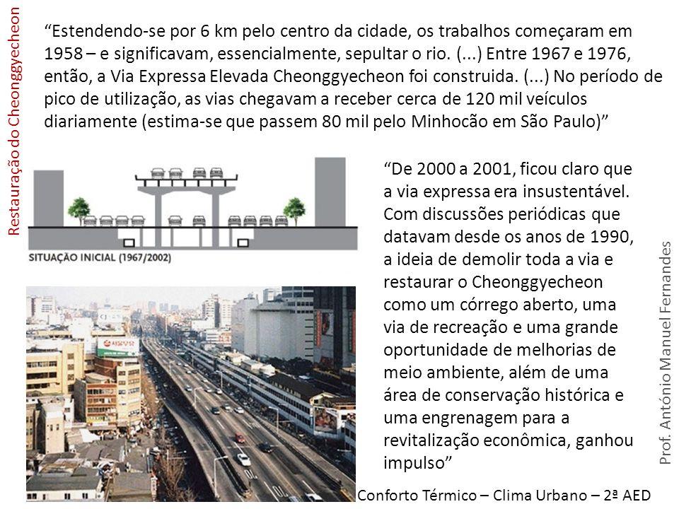 Estendendo-se por 6 km pelo centro da cidade, os trabalhos começaram em 1958 – e significavam, essencialmente, sepultar o rio. (...) Entre 1967 e 1976, então, a Via Expressa Elevada Cheonggyecheon foi construida. (...) No período de pico de utilização, as vias chegavam a receber cerca de 120 mil veículos diariamente (estima-se que passem 80 mil pelo Minhocão em São Paulo)