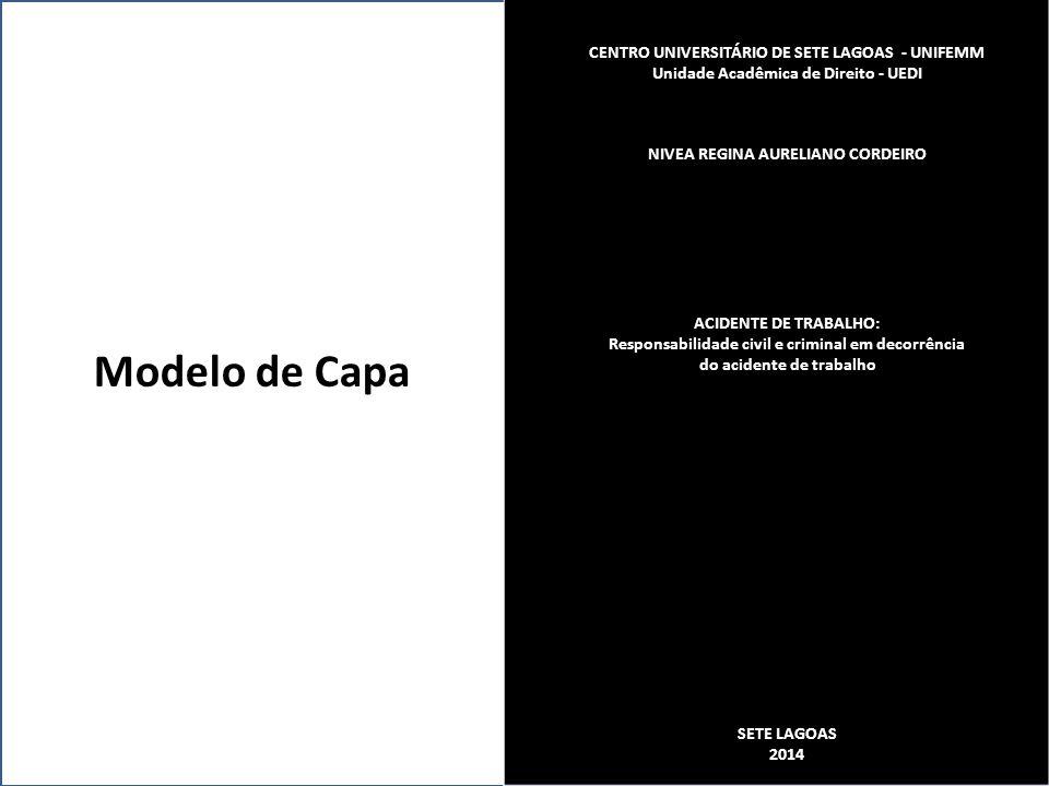 Modelo de Capa CENTRO UNIVERSITÁRIO DE SETE LAGOAS - UNIFEMM