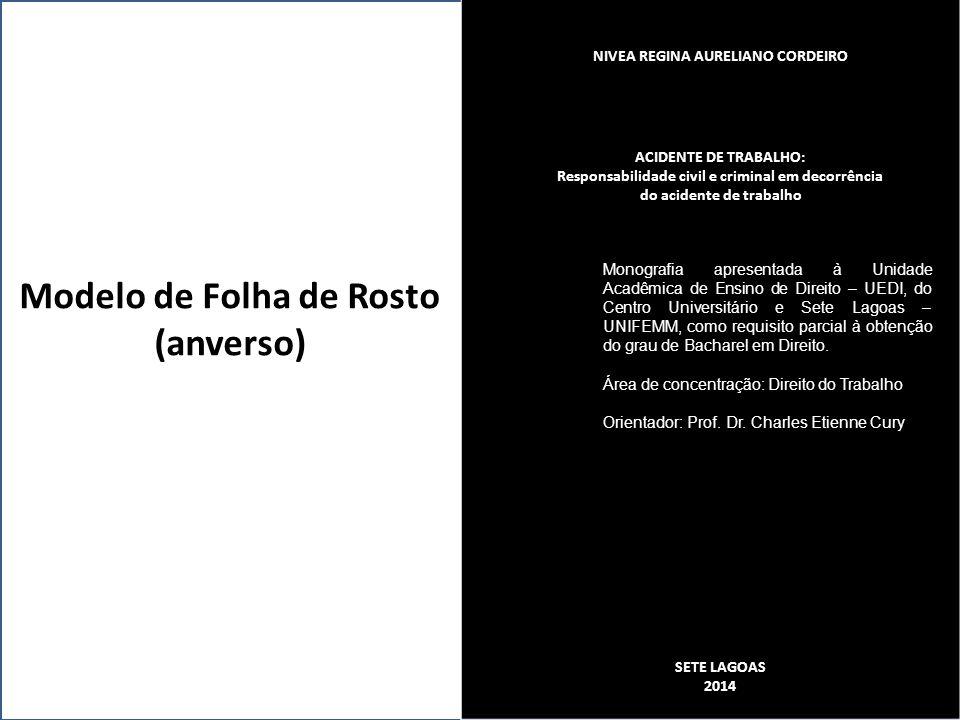 Modelo de Folha de Rosto (anverso)