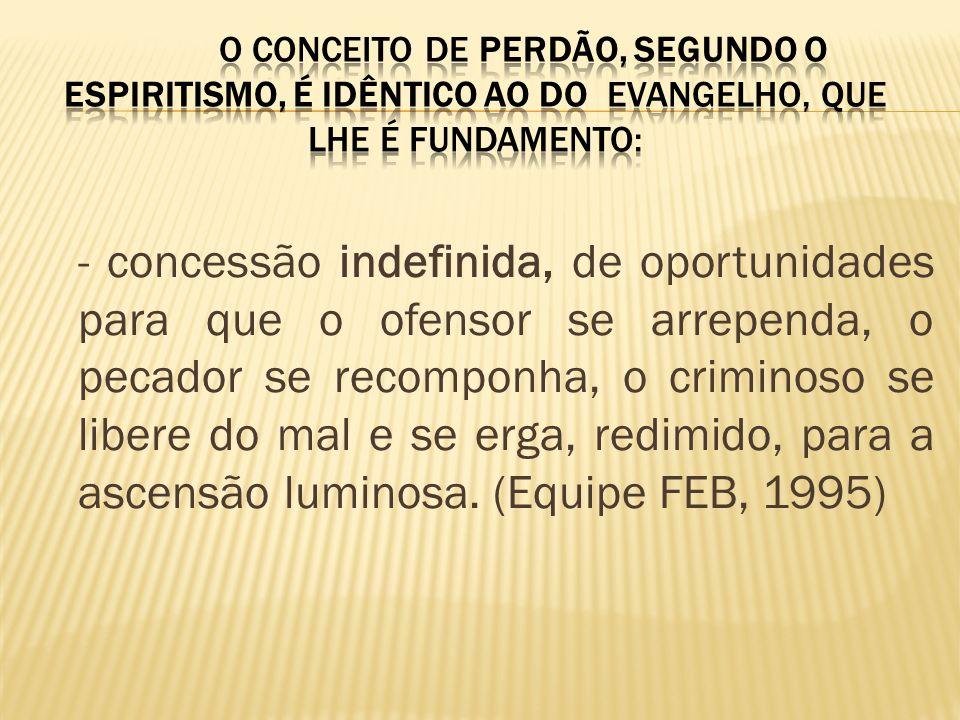 O conceito de perdão, segundo o Espiritismo, é idêntico ao do Evangelho, que lhe é fundamento: