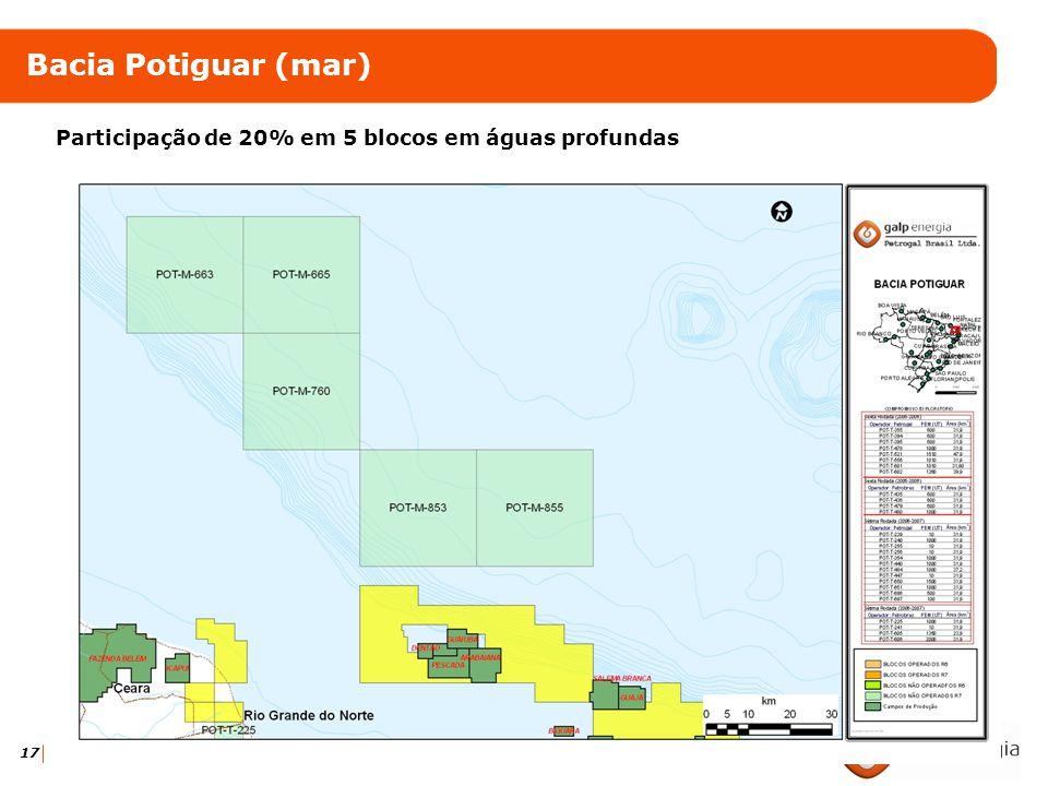 Bacia Potiguar (mar) Participação de 20% em 5 blocos em águas profundas