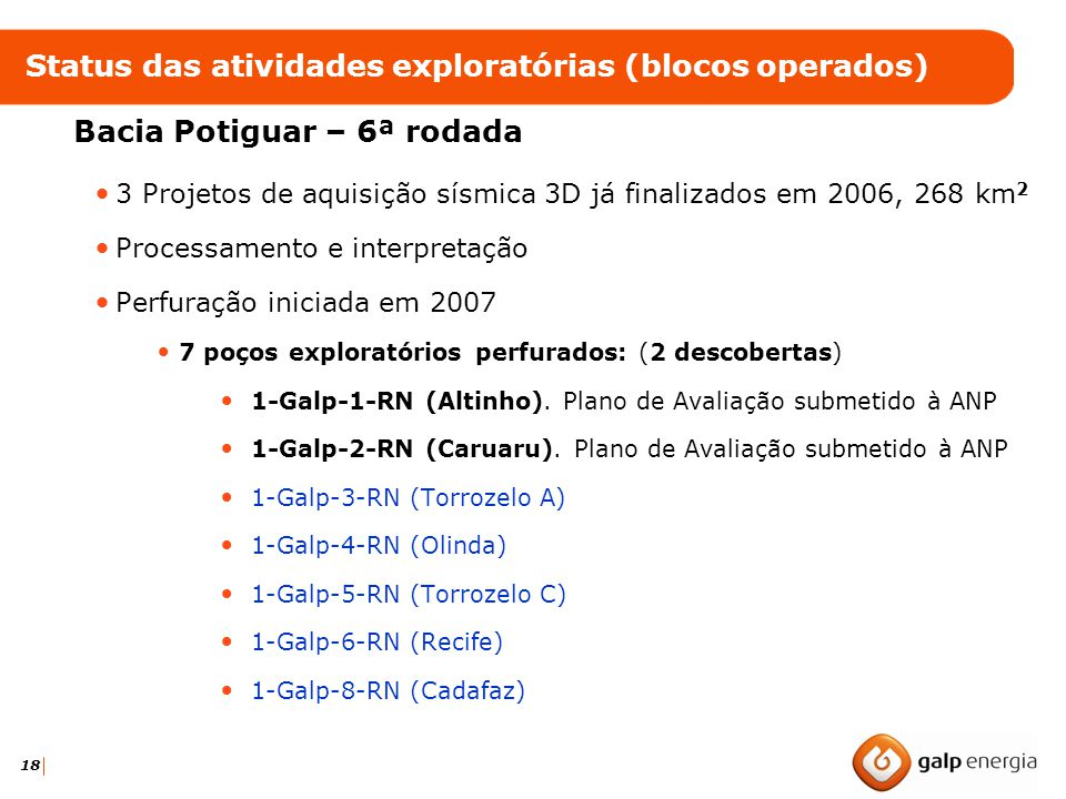 Status das atividades exploratórias (blocos operados)