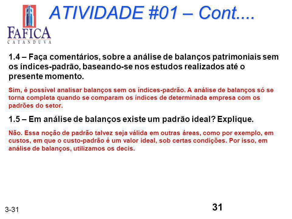 ATIVIDADE #01 – Cont....
