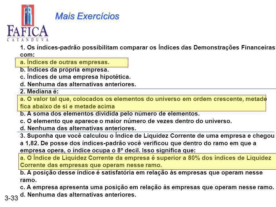 Mais Exercícios 1. Os índices-padrão possibilitam comparar os Índices das Demonstrações Financeiras com: