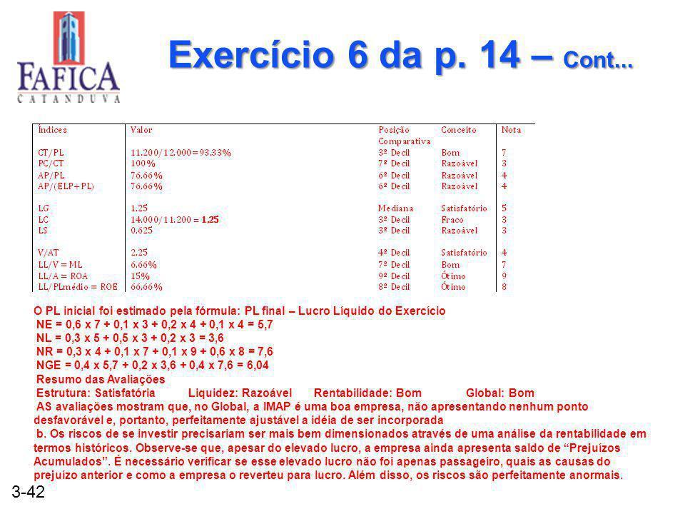 Exercício 6 da p. 14 – Cont... O PL inicial foi estimado pela fórmula: PL final – Lucro Líquido do Exercício.