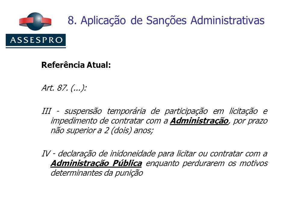 8. Aplicação de Sanções Administrativas