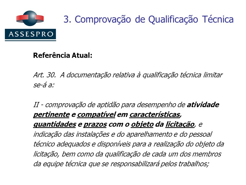 3. Comprovação de Qualificação Técnica