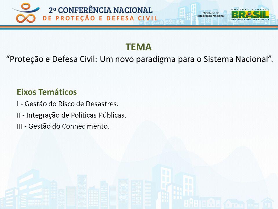 TEMA Proteção e Defesa Civil: Um novo paradigma para o Sistema Nacional .