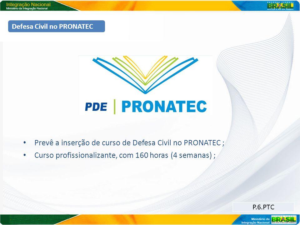 Prevê a inserção de curso de Defesa Civil no PRONATEC ;