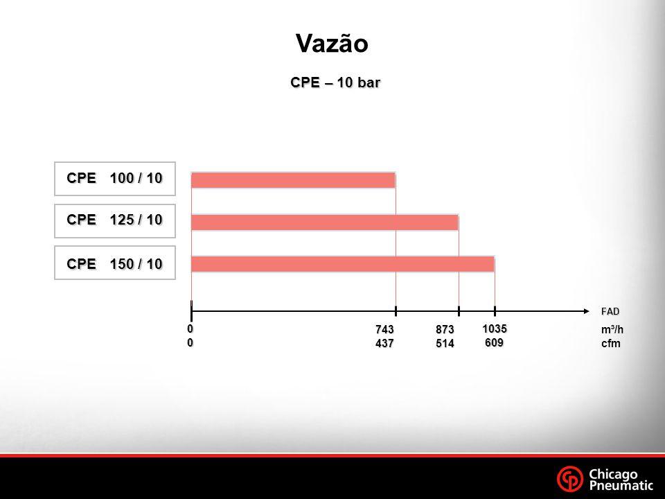 Vazão CPE – 10 bar. CPE 100 / 10. CPE 125 / 10. CPE 150 / 10. FAD. 743. 437. 873. 514.