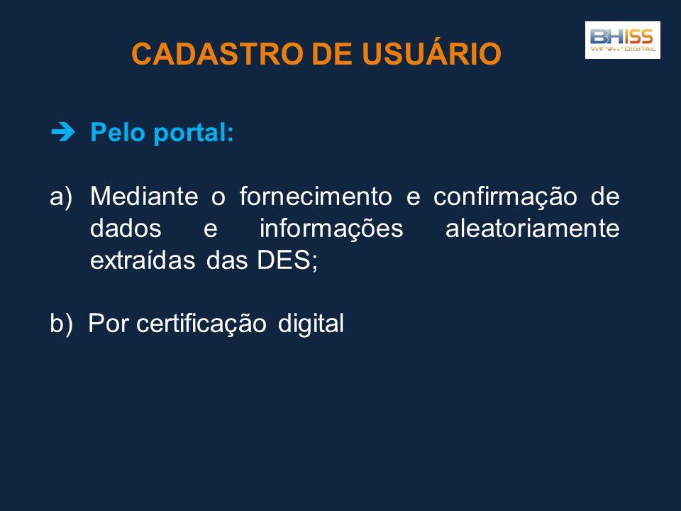 CADASTRO DE USUÁRIO Pelo portal: