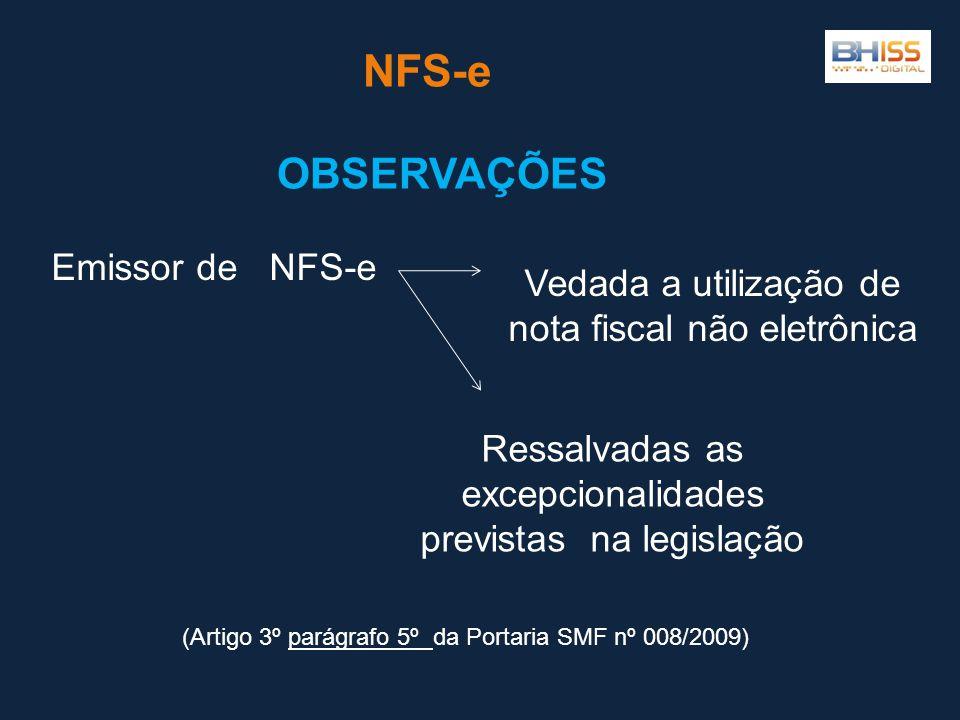 NFS-e OBSERVAÇÕES Emissor de NFS-e