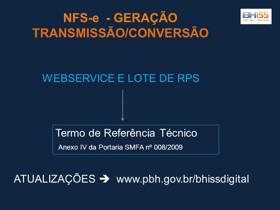 NFS-e - GERAÇÃO TRANSMISSÃO/CONVERSÃO