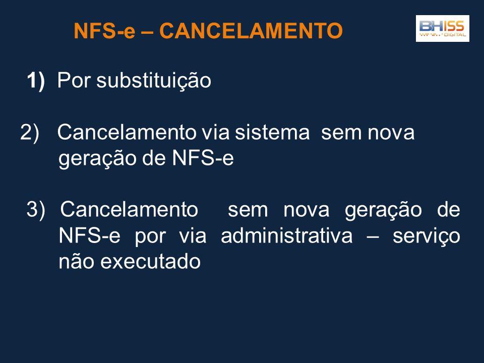 NFS-e – CANCELAMENTO 1) Por substituição. 2) Cancelamento via sistema sem nova geração de NFS-e.