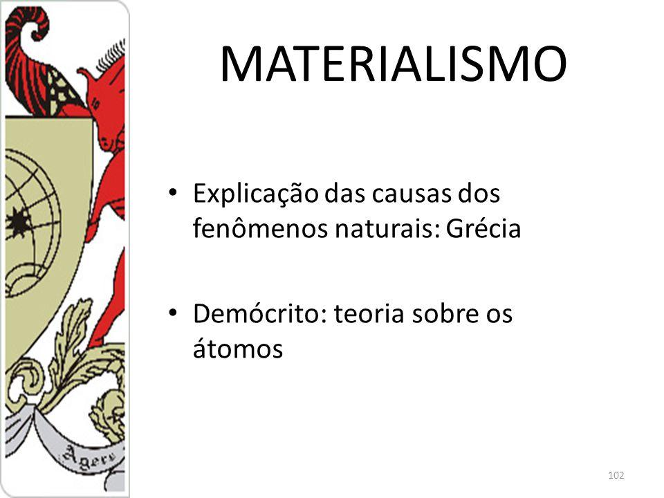 MATERIALISMO Explicação das causas dos fenômenos naturais: Grécia