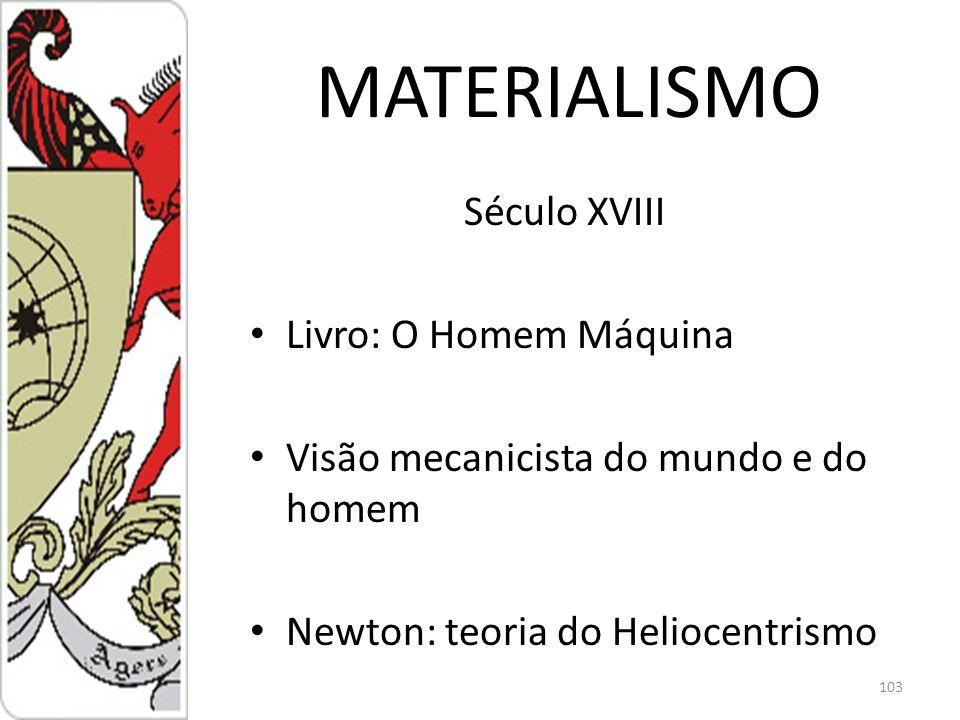 MATERIALISMO Século XVIII Livro: O Homem Máquina