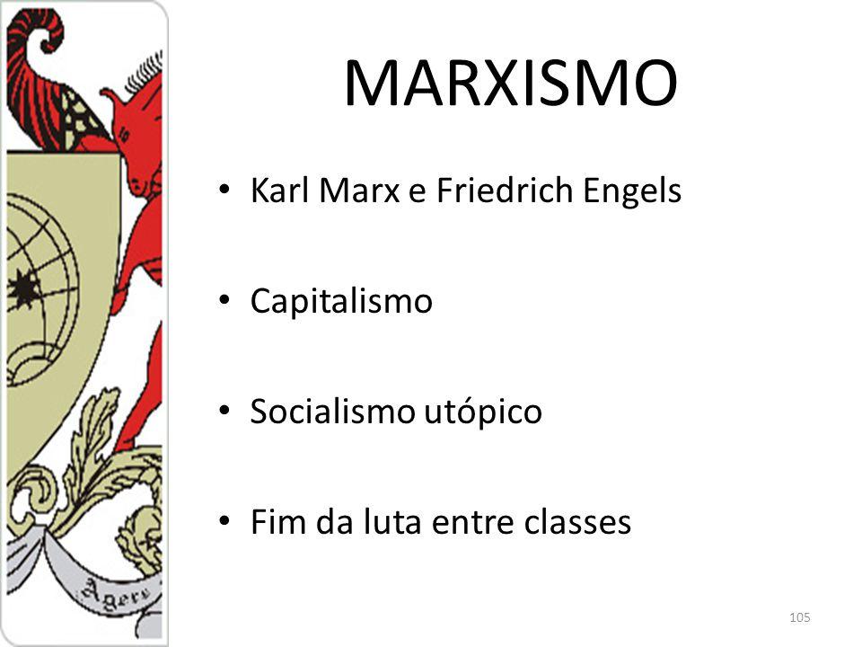 MARXISMO Karl Marx e Friedrich Engels Capitalismo Socialismo utópico