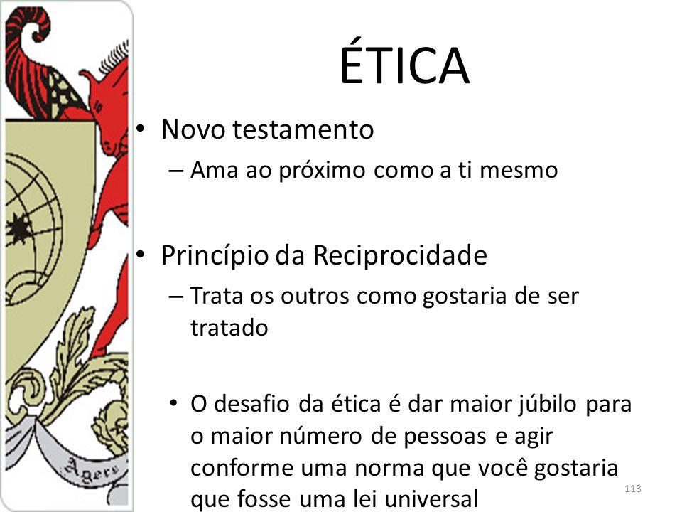 ÉTICA Novo testamento Princípio da Reciprocidade
