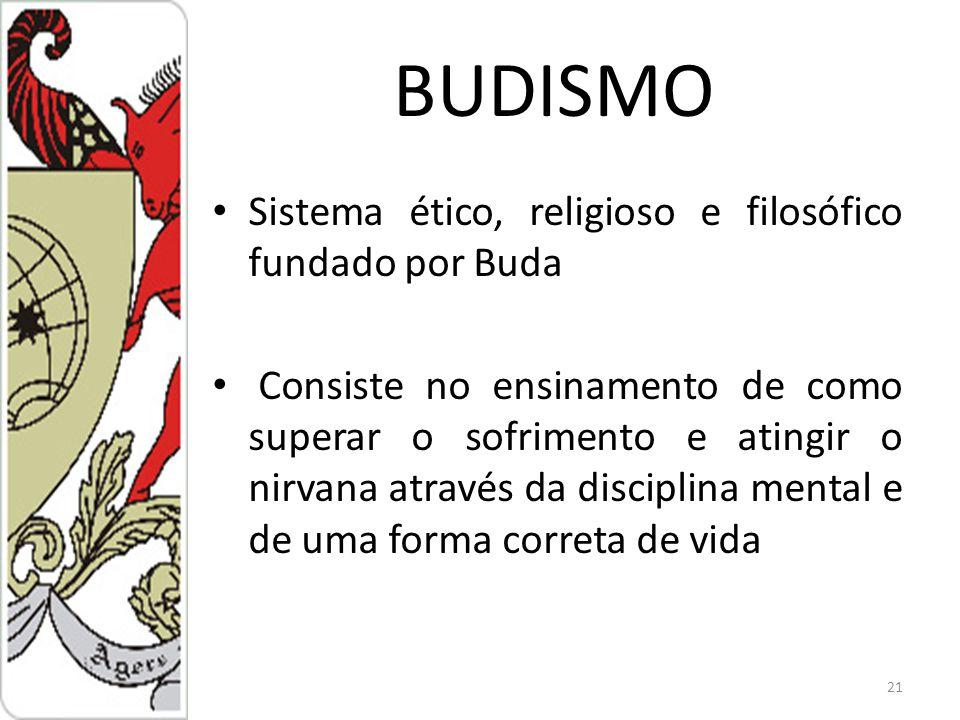 BUDISMO Sistema ético, religioso e filosófico fundado por Buda