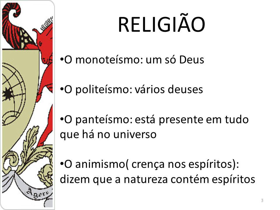RELIGIÃO O monoteísmo: um só Deus O politeísmo: vários deuses